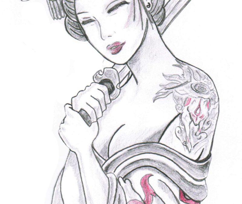 Geisha holding sword tattoo design