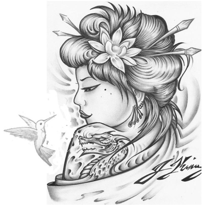 Geisha Hummingbird Tattoo Design Tattoos Book 65 000 Tattoos Designs