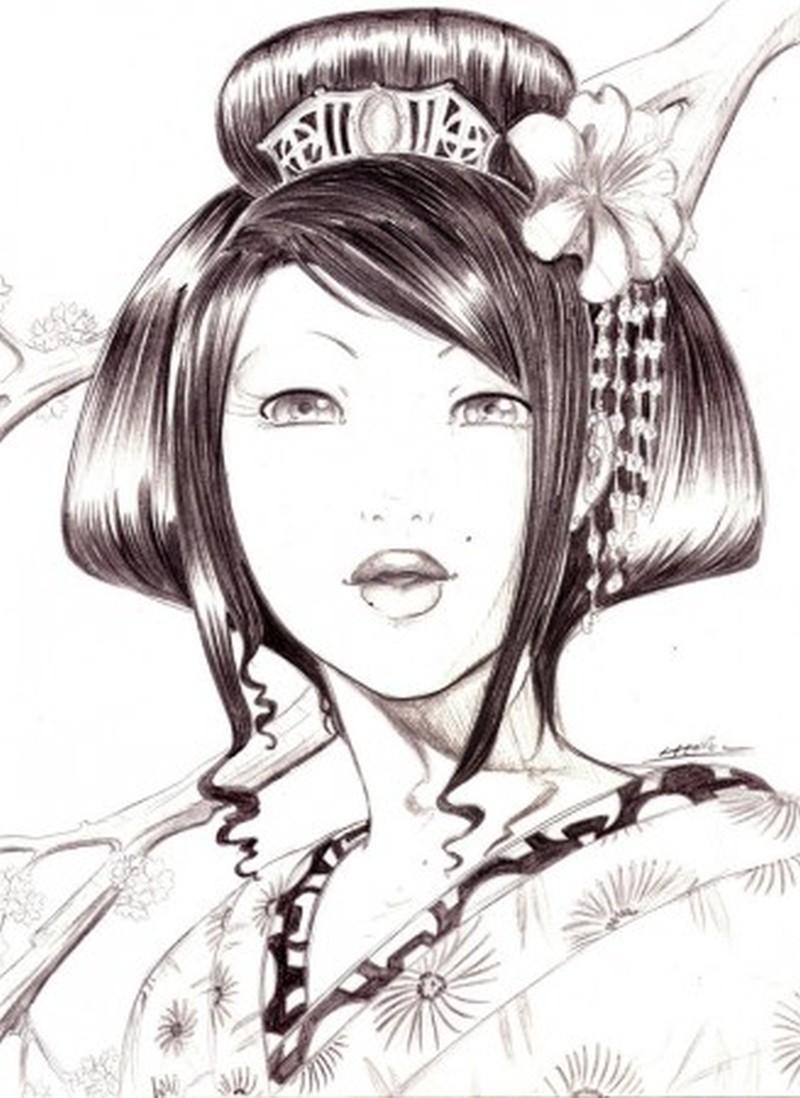 Geisha lapiz tattoo design