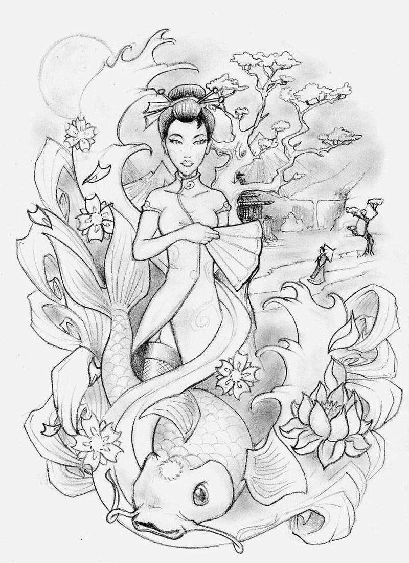 Geisha n koi fish tattoo design