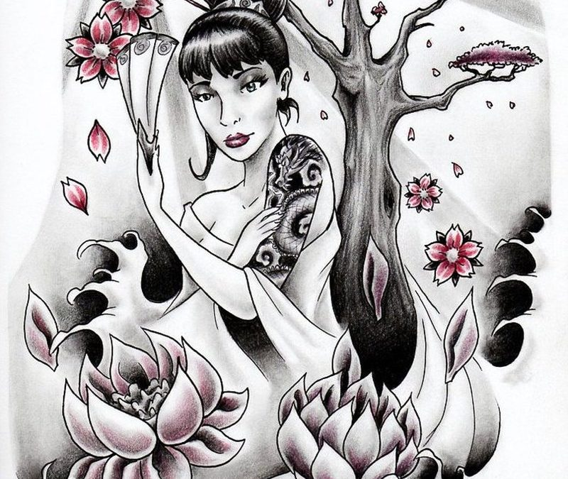 Geisha n lotus flowers tattoo design