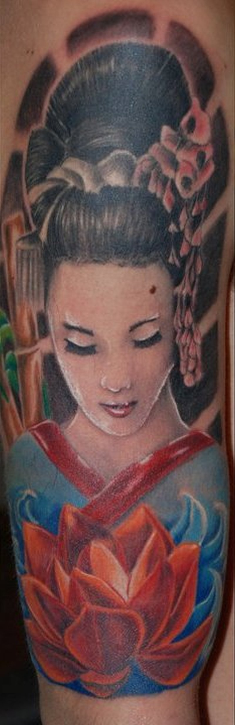 Geisha n lotus tattoo design