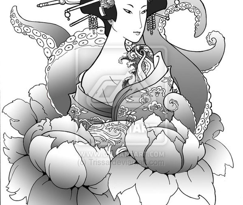 Geisha n octopus tattoo design