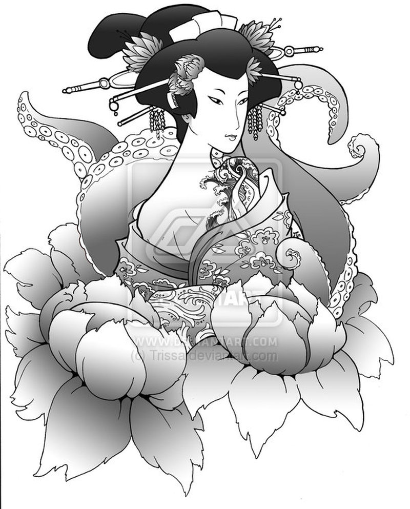 Geisha n octopus tattoo design