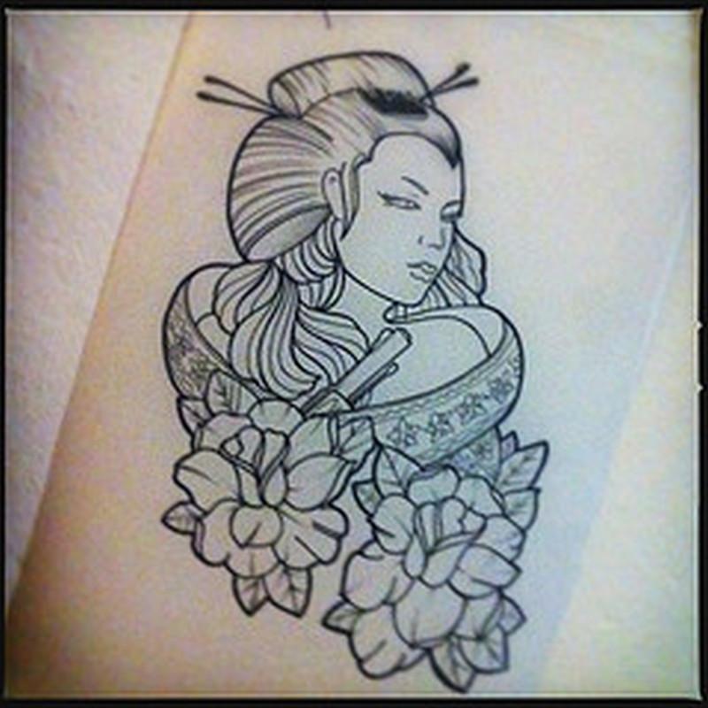 Geisha outline tattoo design 2