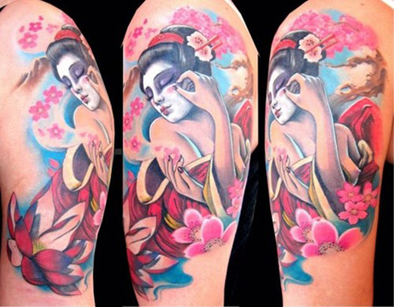 Geisha pinup tattoo design