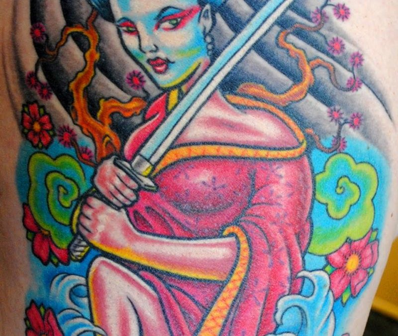 Geisha samauri tattoo design