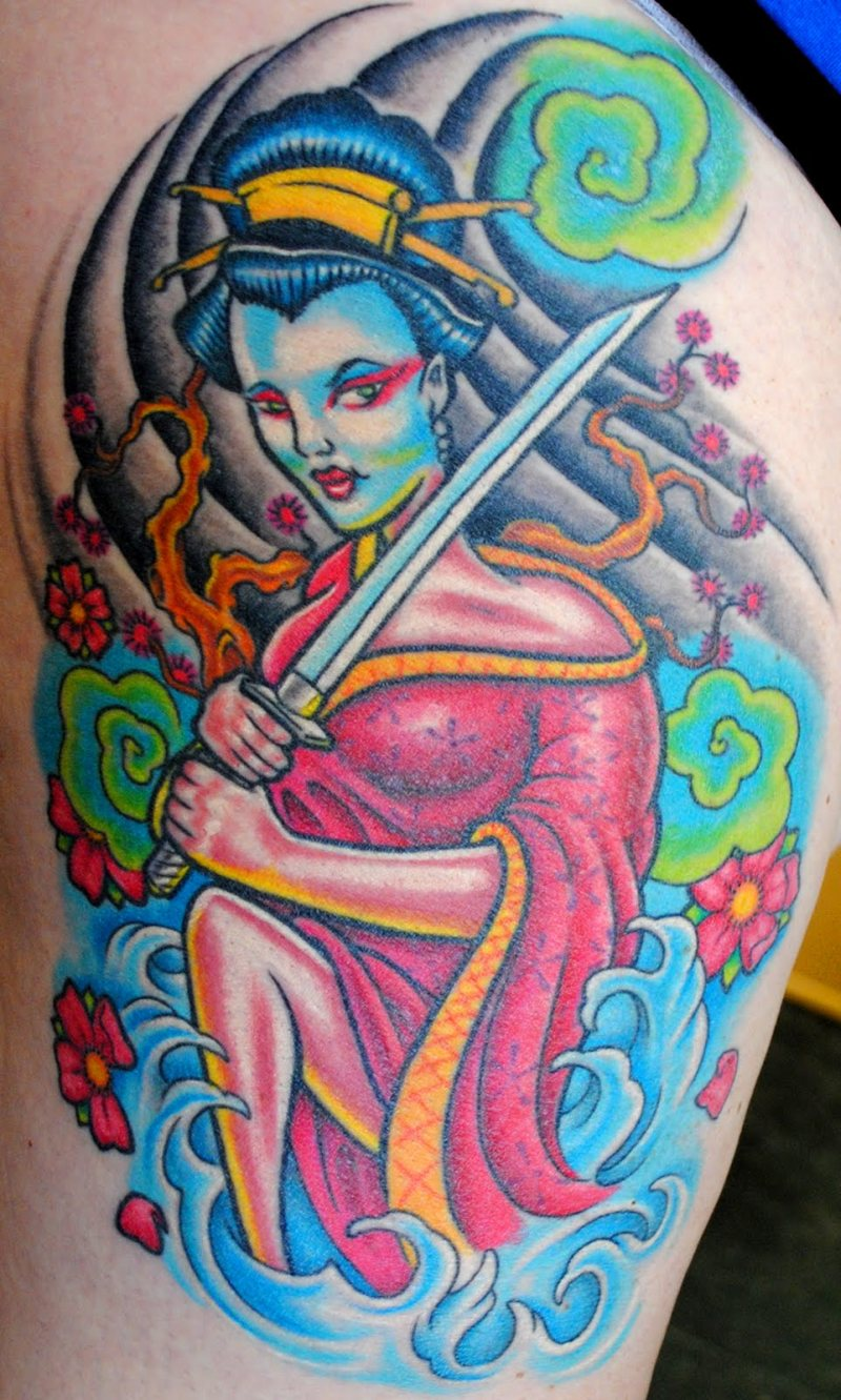 Geisha samauri tattoo design