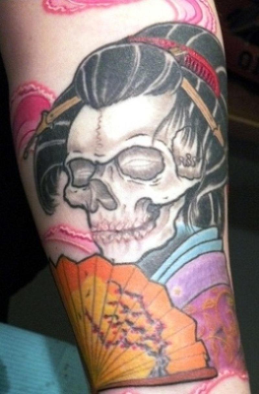 Geisha skull tattoo on forearm