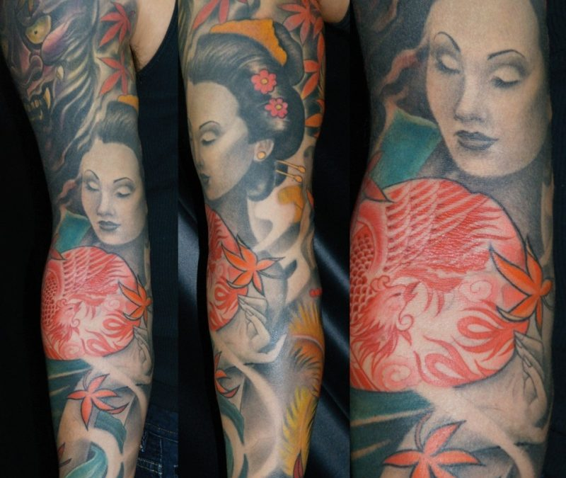 Geisha sleeve tattoo design