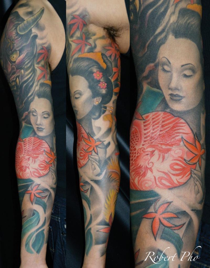 Geisha sleeve tattoo design