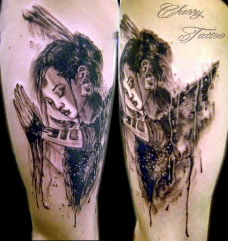 Geisha tattoo art on legs