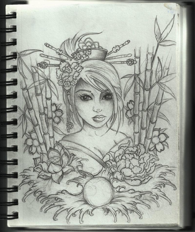Geisha tattoo artwork