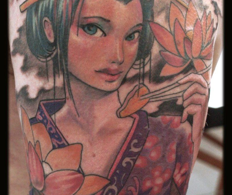 Geisha tattoo closeup