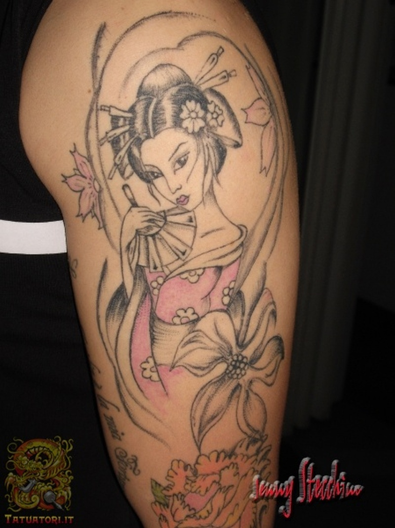 Geisha tattoo design on arm