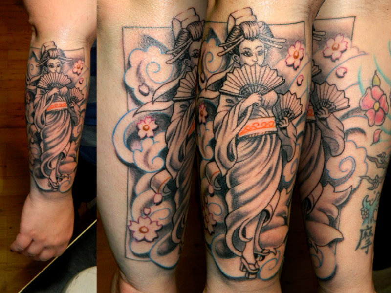 Geisha tattoo design on lower arm