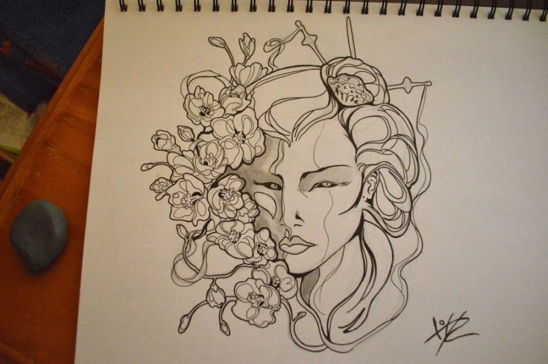 Geisha tattoo drawing 2