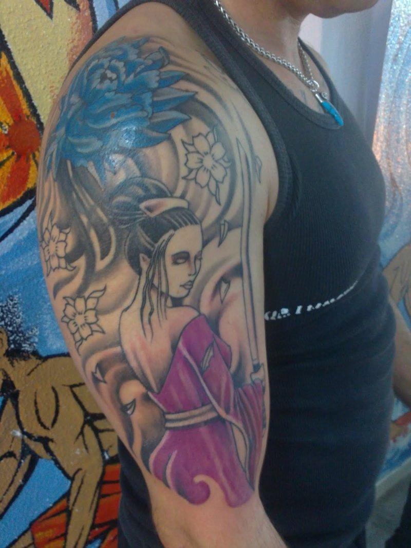 Geisha tattoo on half sleeve