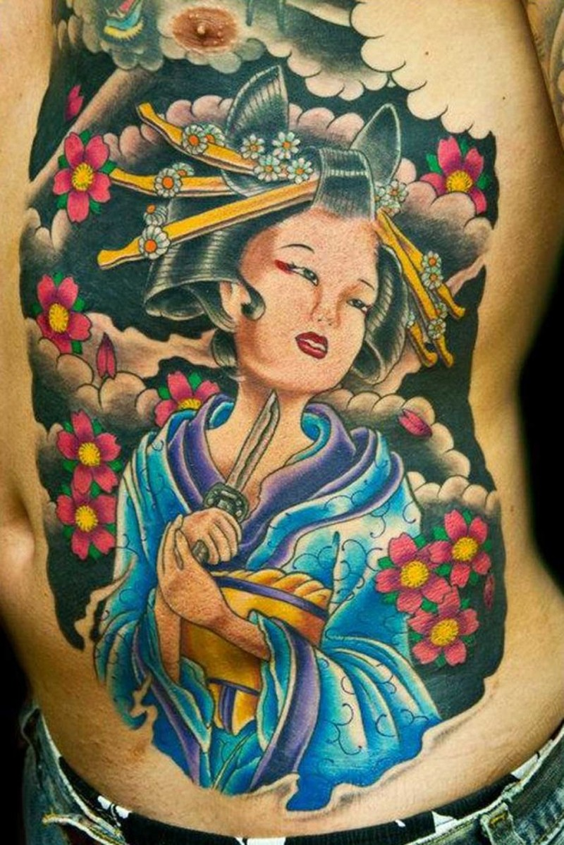 Geisha tattoo on side stomach for men