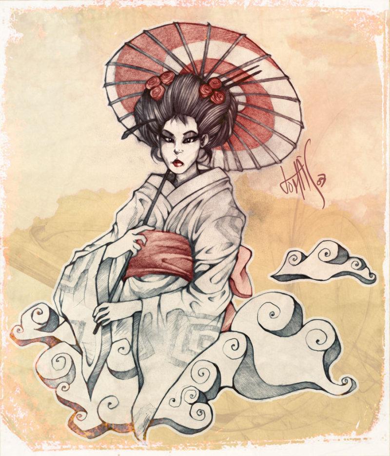 Geisha tattoo painting