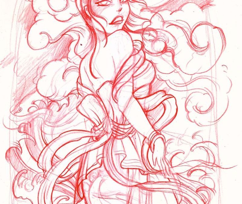 Geisha tattoo sketch 2