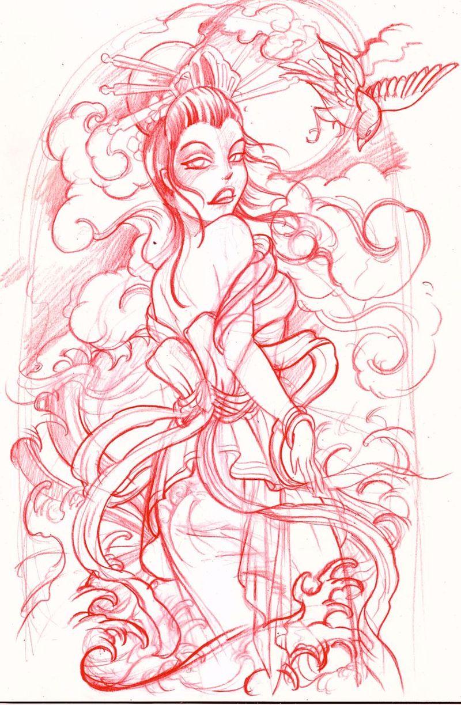 Geisha tattoo sketch 2