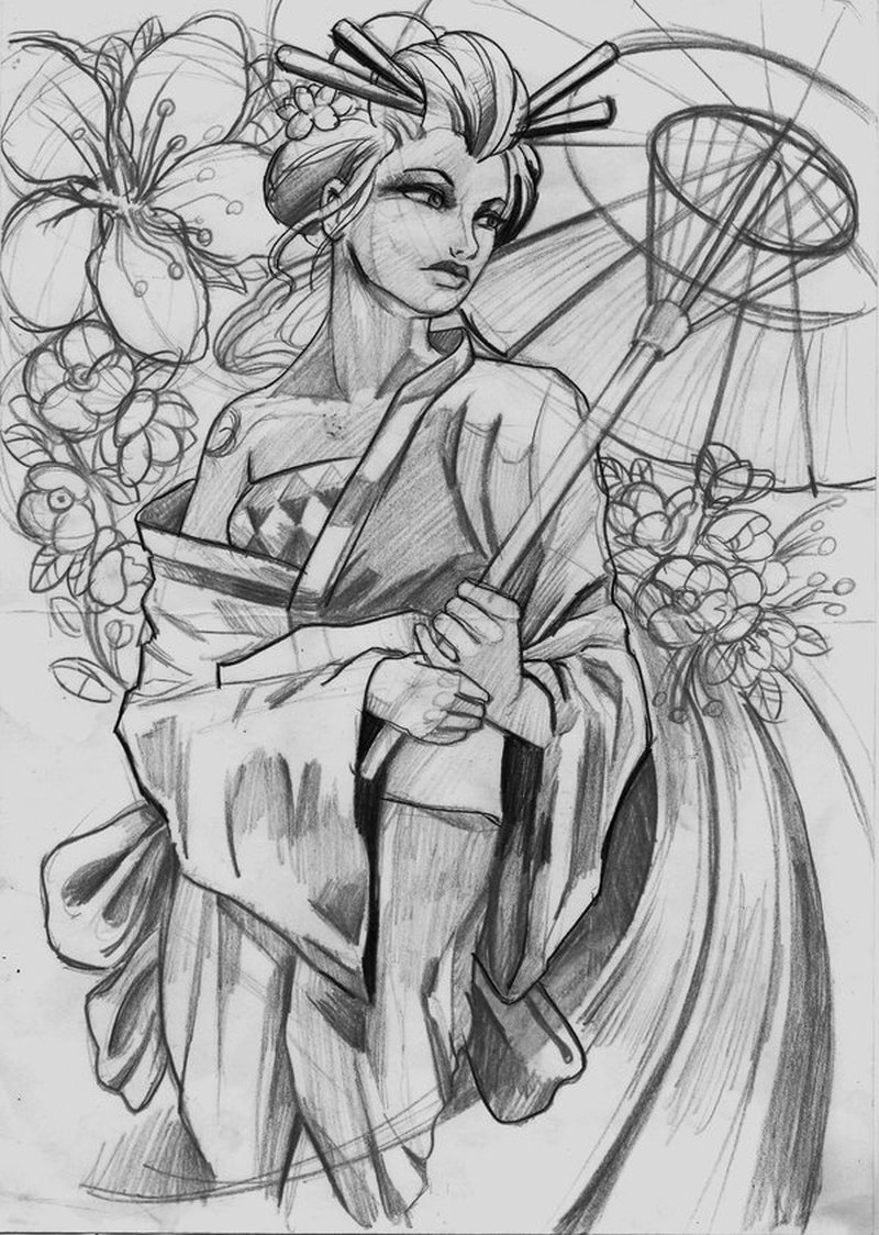 Geisha tattoo sketch