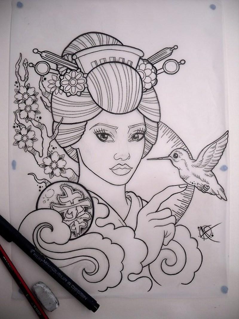 Geisha with bird tattoo drawing