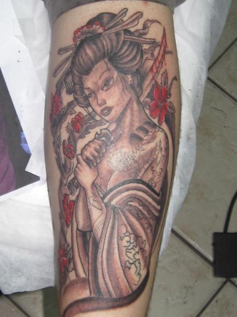 Geisha with bleeding sword tattoo design