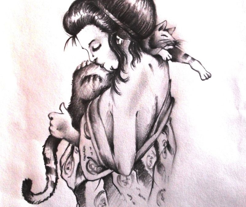 Geisha with cat tattoo design 2