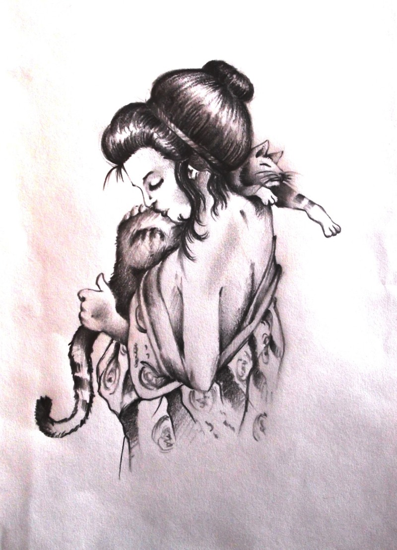 Geisha with cat tattoo design 2