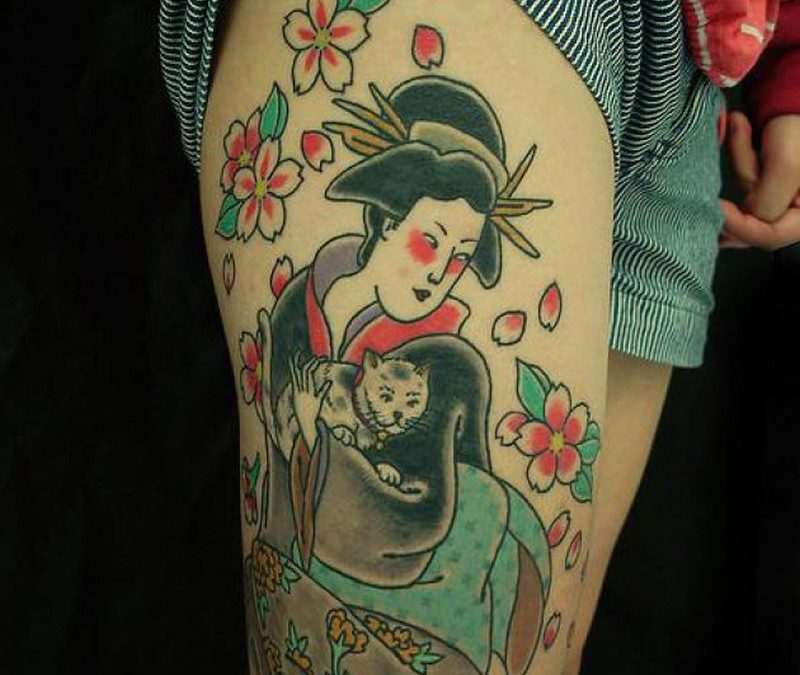 Geisha with cat tattoo design on right leg