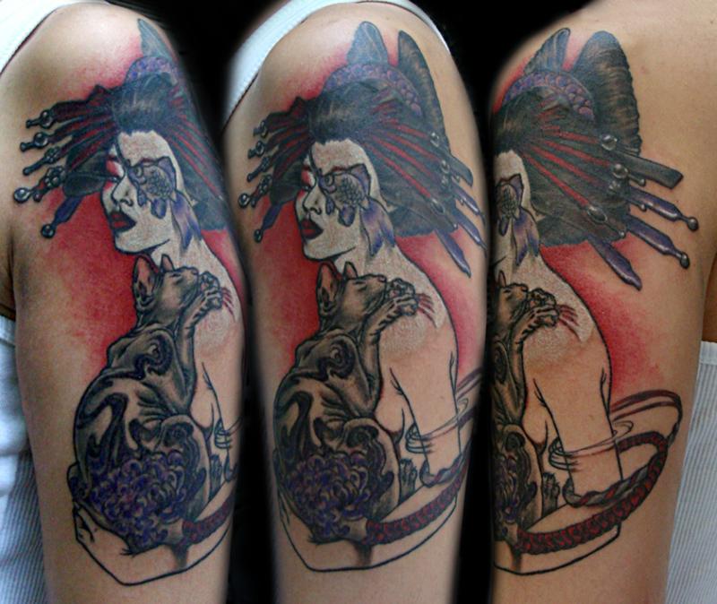 Geisha with cat tattoo design