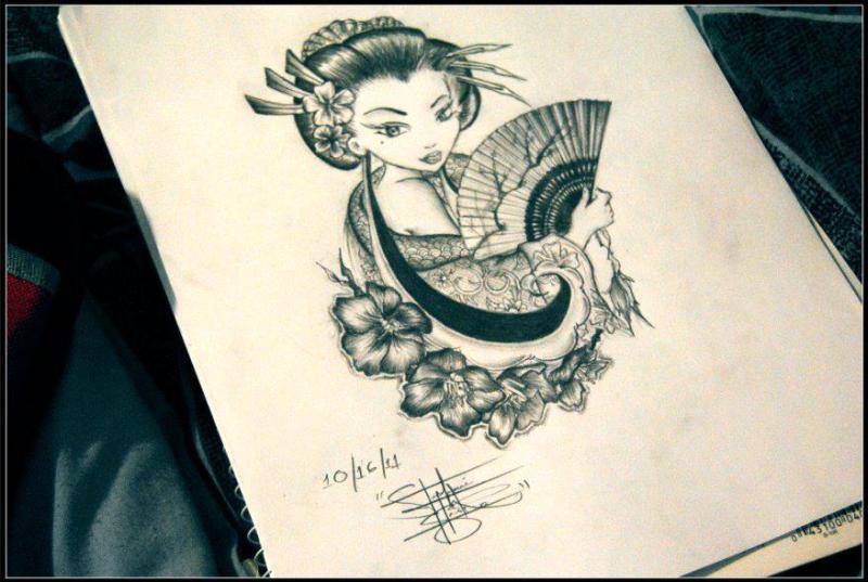 Geisha with fan tattoo design