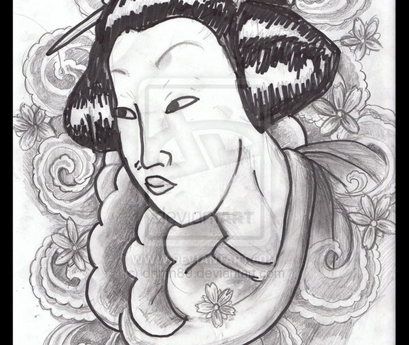 Geisha with flower tattoo flash