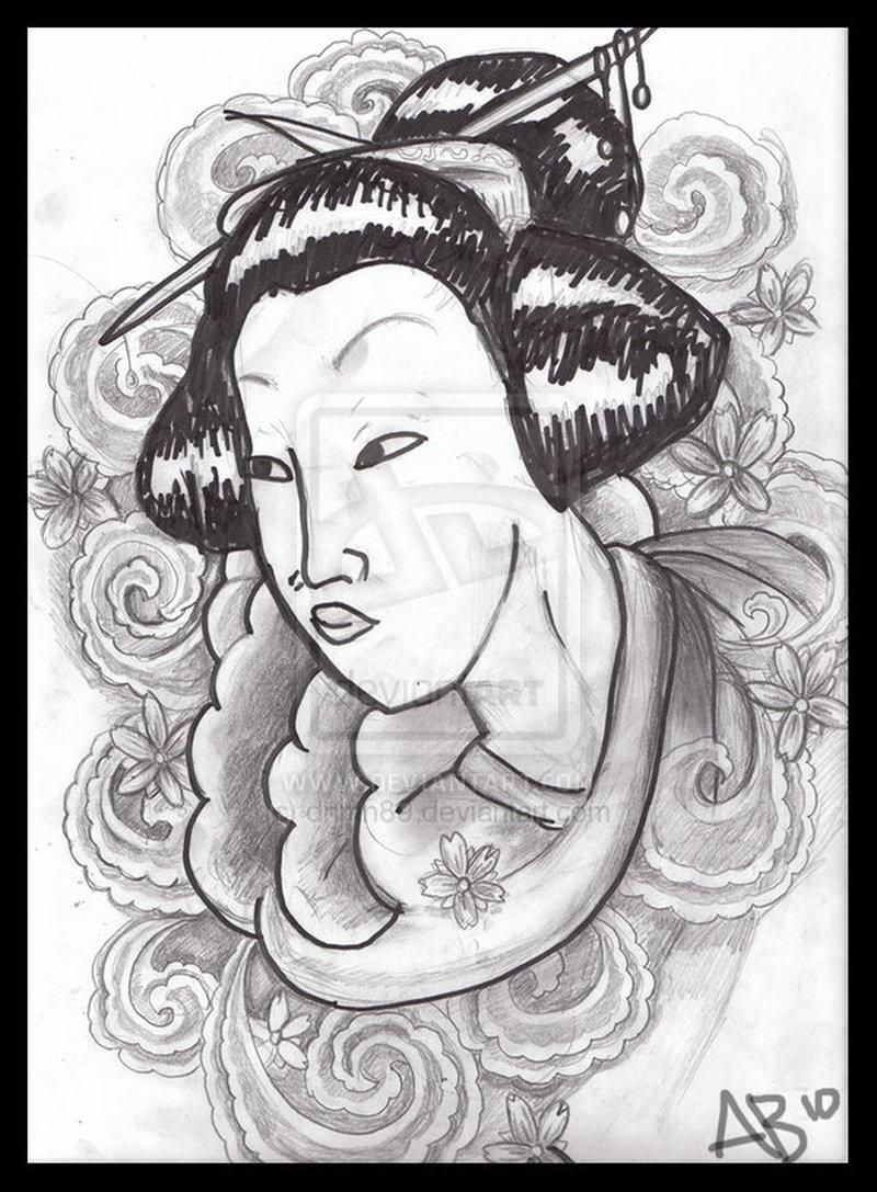 Geisha with flower tattoo flash