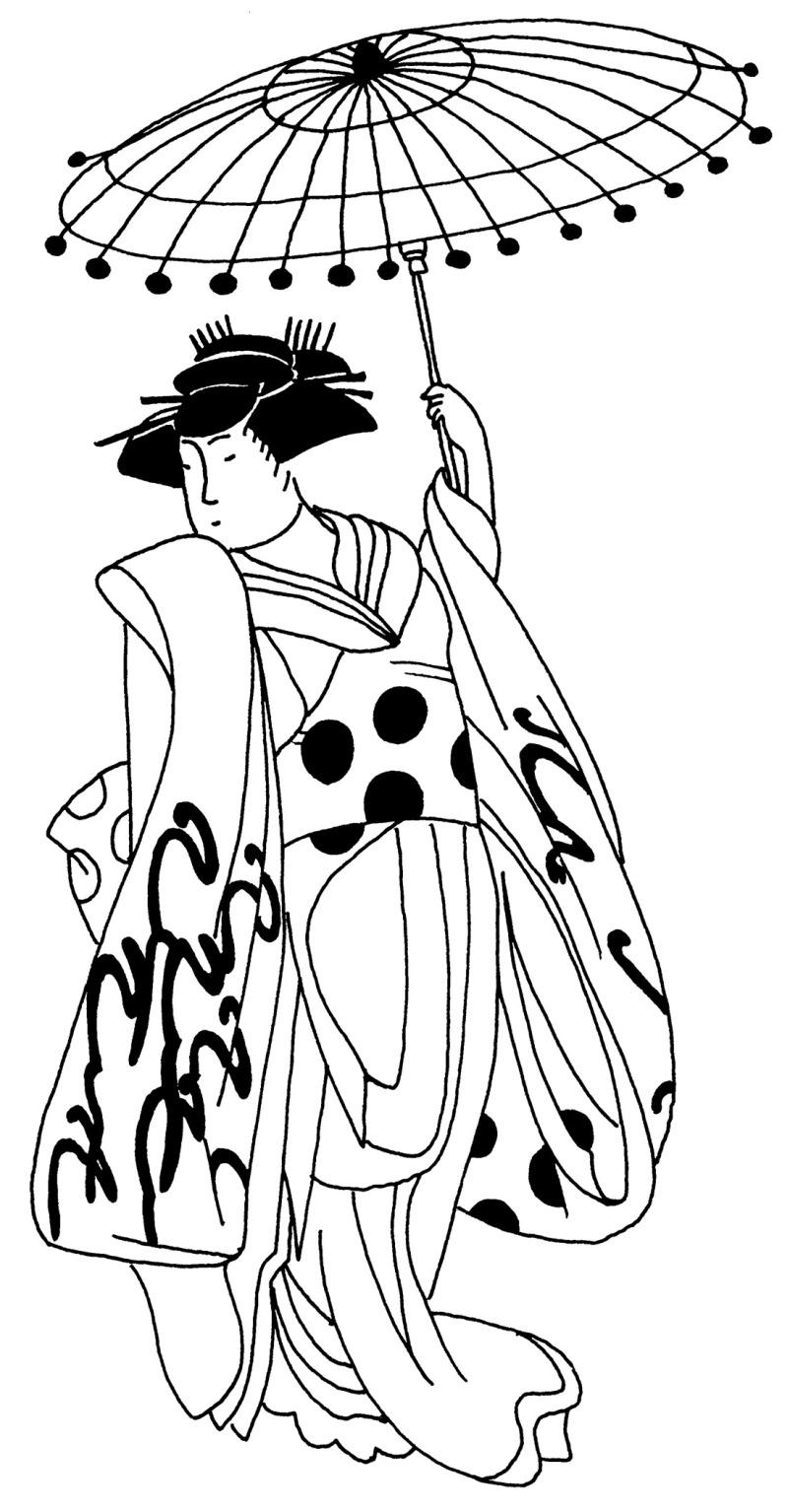Geisha with umbrella tattoo design
