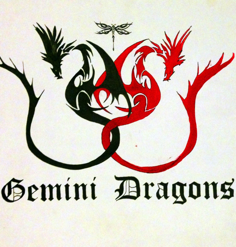 Gemini dragons tattoo design
