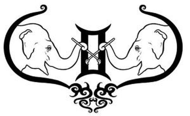 Gemini elephant tattoo design