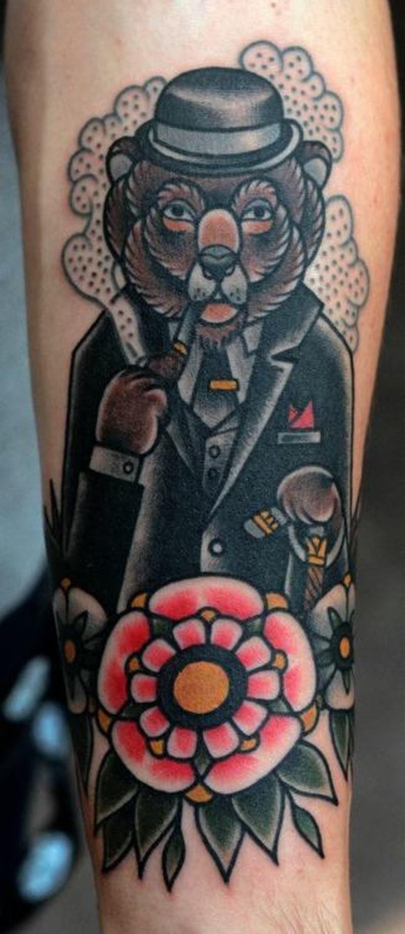 Gentleman bear tattoo design