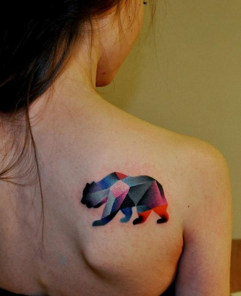 1b6877efc7ad4 Geometric bear tattoo on shoulder blade - Tattoos Book - 65.000 ...