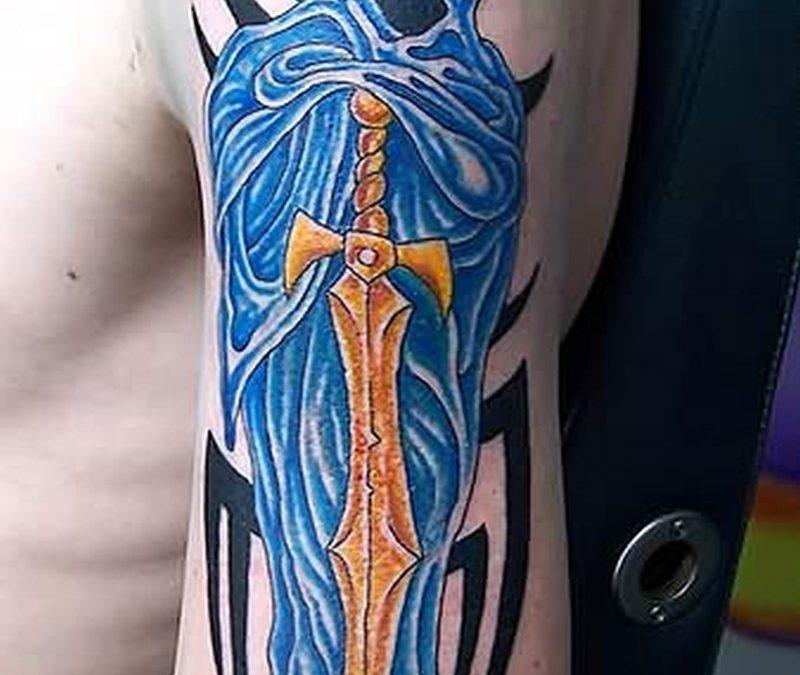 Ghost sword fantasy tattoo