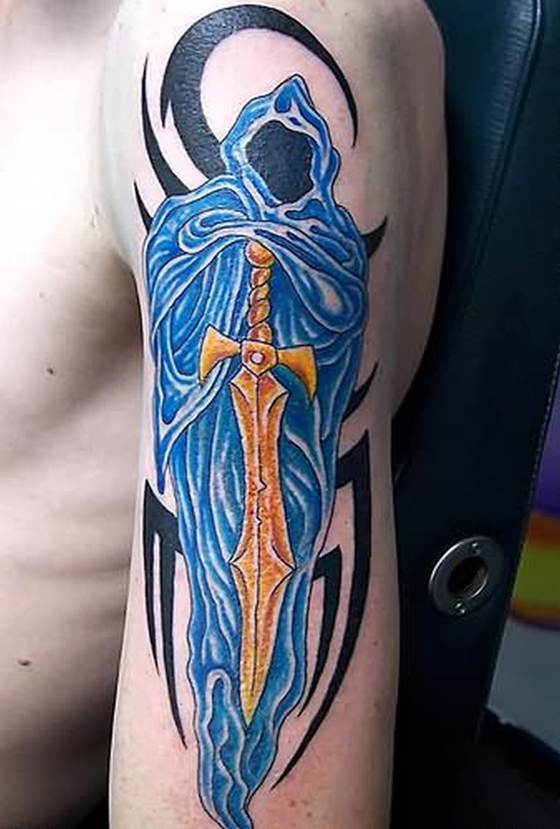 Ghost sword fantasy tattoo