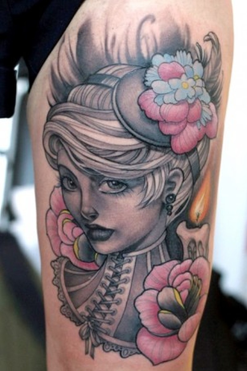 Girl flowers candle tattoo tattoos book tattoos for Tattoo girl book