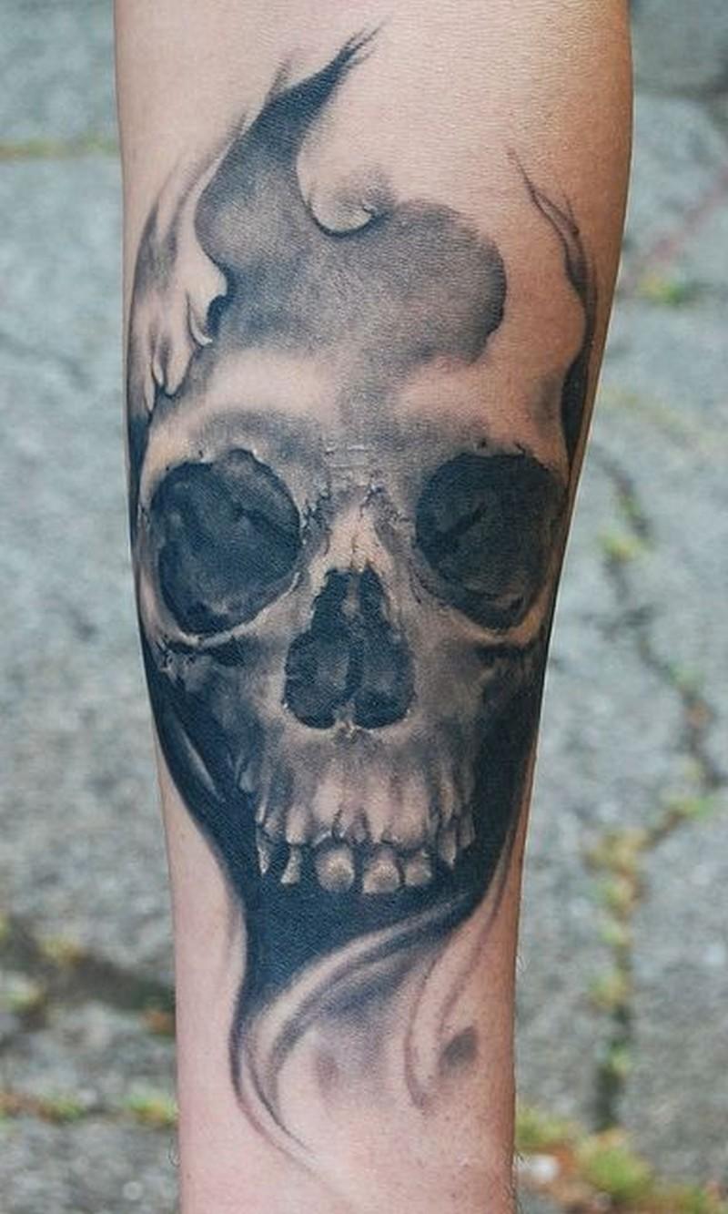 gloomy grey skull forearm tattoo tattoos book tattoos designs. Black Bedroom Furniture Sets. Home Design Ideas