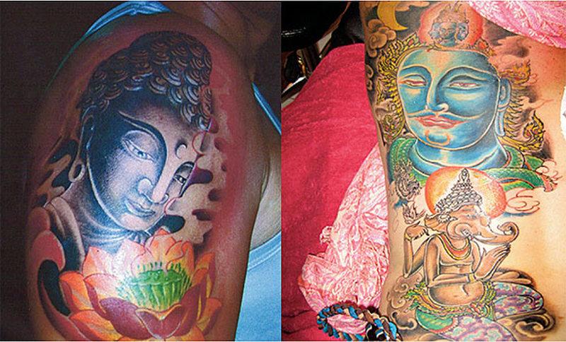 Glowing buddha tattoo design