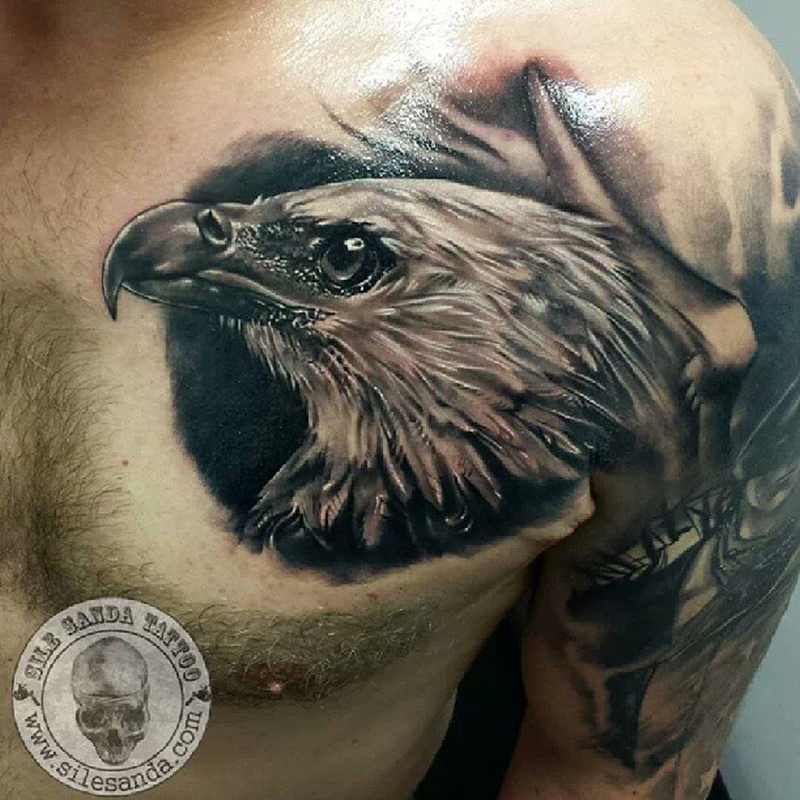 glowing eagle face tattoo on chest tattoos book. Black Bedroom Furniture Sets. Home Design Ideas