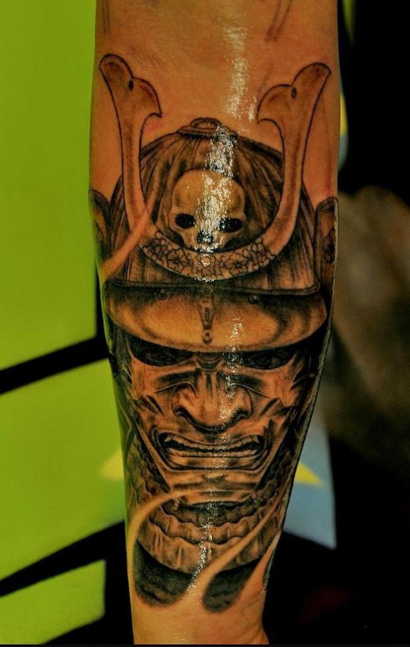 Glowing japanese samurai tattoo design