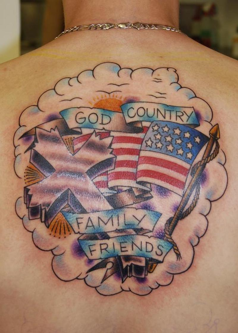 god country on back tattoo tattoos book tattoos designs. Black Bedroom Furniture Sets. Home Design Ideas