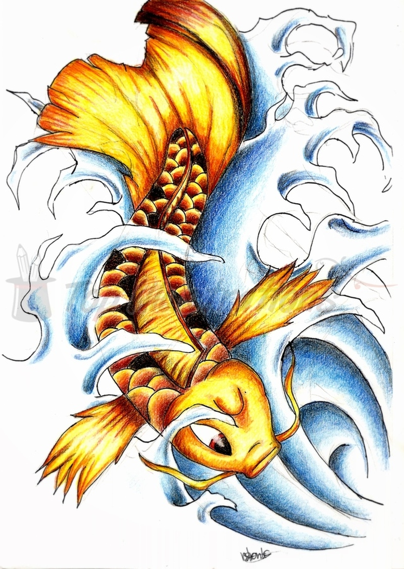 Golden koi fish tattoo design